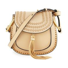 Hudson Small Leather Shoulder Bag by Chloe. Chloe calfskin shoulder bag with woven and stud trim. Studs frame exterior of horseshoe-shaped body. Adjustable shoul...