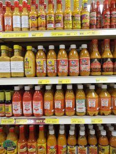 Hot sauce heaven - shelf after shelf of Bajan hot sauces in the Holetown Supercentre, Barbados.