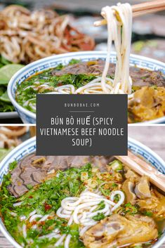 Bún bò Huế is a spicy Vietnamese noodle soup that's not as popular as phở, but don't sleep on it. This spicy lemongrass flavored bone broth will rock your world. Vietnamese Pork, Vietnamese Noodle, Vietnamese Recipes, Beef Noodle Soup, Beef And Noodles, Pork Hock Soup, Asian Recipes, Fancy Recipes, Ethnic Recipes