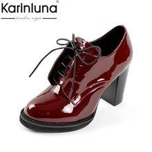 KARINLUNA Gran Tamaño 32-43 Personalizada de Las Mujeres Zapatos de Mujer de Moda de Estilo Británico Retro Tacones Altos Fecha Bombea Calzado Dama(China (Mainland))