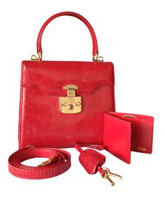 GUCCI Red Lizard ´Kelly´ Style Top Handle Bag The hardware of this rare 463ed71427969