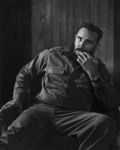"""Fidel Castro, 1971 - Karsh approached all of his subjects in the same way, from Mother Theresa to unknown people who sat for the photographer to gift a portrait to a spouse. He traveled regularly, preferring to photograph people in their own environments to maximize their level of comfort in front of the camera. And as much as possible, he spent time getting to know them before even laying a finger on the camera. For the subject this prelude to the portrait """"was just a casual conversation…"""
