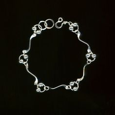 Silver Bracelet Beaded Chain Link Hammered Shapes Metalwork Bracelet Sterling Silver Wire Jewelry Metal Wirework