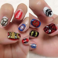 MARVELnail完成٩(๑>◡<๑)۶✨ 細かいの疲れた…(笑) . #marvelnails #selfnail #artnails #gelnails #avengers #ironman #MARVEL #captainamerica #deadpool #spiderman #shield #superman #batman #fantasticfour  #マーベル #アイアンマン #アベンジャーズ #キャプテンアメリカ #デッドプール #スパイダーマン #スーパーマン #シールド #バットマン #ファンタスティックフォー #ジェルネイル #マーベルネイル #セルフネイル #アメコミネイル