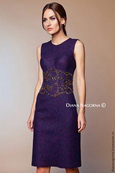 """Купить Платье из мериносовой шерсти """"Gabriela"""" - тёмно-фиолетовый, орнамент, платье, Платье нарядное"""