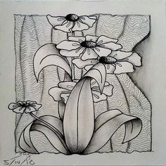 Fun Tile with focus on Flip Leaves a la Helen Williams with Full Henna Drum and Undling Dibujos Zentangle Art, Zentangle Drawings, Doodles Zentangles, Zentangle Patterns, Doodle Drawings, Zantangle Art, Zen Art, Geometric Flower, Geometric Art