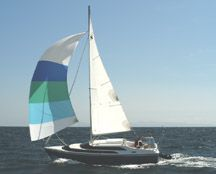 MacGregor 26 cruising spinnaker - love the stripes!