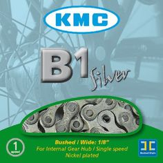 KMC B1 Chain for Single Speed Bikes Chains A silver chain designed for single speed and internal hub geared bikes. http://www.MightGet.com/january-2017-11/kmc-b1-chain-for-single-speed-bikes-chains.asp