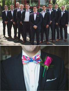dapper groomsmen in Lilly Pulitzer patterned bow ties