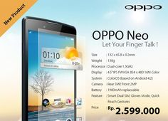 #Oppo Neo goes official with 4.5-inch display, dual-core processor, running Android 4.2 with ColorOS skin for $215.