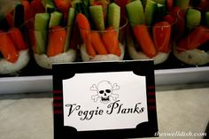 Veggie planks. See more pirate birthday party ideas at www.one-stop-party-ideas.com