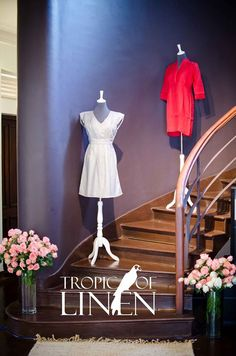 Grey & Red linen dresses at TropicOfLinen fashion stairway. V-Neck empire waist Dress and box pleat detail neckline Dress at Tropic Of Linen.