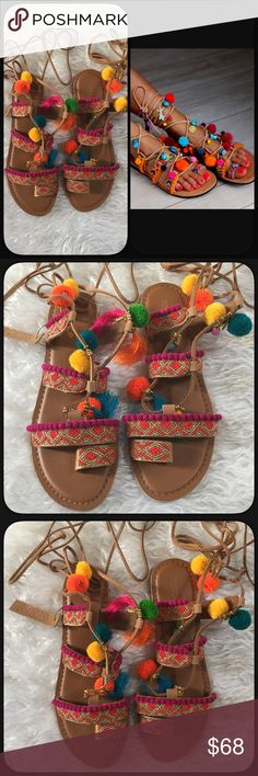 🆕Topshop Gladiator Pom Pom & Charms Sandals Fun and colorful Topshop all leather tie up gladiator sandals. Vibrant Pom Poms with charms and beads. NWT. No box. Size 9. Fun shoes, these are sold out everywhere. Topshop Shoes Sandals