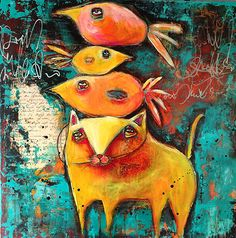 """Friends in High Places"" -mixed media on cradled wood by Jacqui Fehl"
