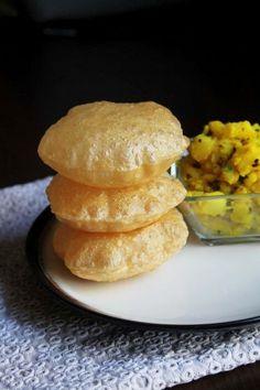Poori recipe or puri recipe with step by step photos - it is very easy and simple to make. Poori is popular Indian recipe. It served with potato subzi or sweets like halwa Undhiyu Recipes, Puri Recipes, Indian Food Recipes, Cooking Recipes, Indian Butter Chicken, Indian Breakfast, Desi Food, India Food, Chapati