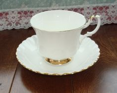 Royal Albert - Val D'or - Bone China England - Vintage Tea Cup and Saucer - Translucent White Body with Gold Trim by OfftheShelf2015 on Etsy