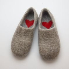Felted Warmest Love Clogs - Felt organic merino wool neutral beige grey - handmade slippers all sizes made to order Shearling Slippers, Felted Slippers, Clogs, Valentine Day Gifts, Valentines, Felt Boots, Womens Slippers, Wool Felt, Felted Wool