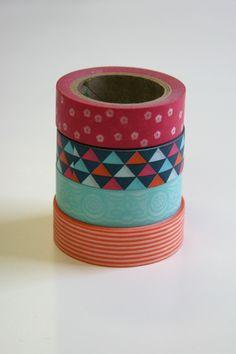 Navy Orange Pink - Four Rolls Washi Tape
