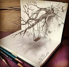 A trained artist can already create detailed pencil drawings, but when they achieve a true mastery of perspective and space, their art, both literally and figuratively, reaches a whole new level. Here are 22 examples of pencil drawings that look lik 3d Drawings, Amazing Drawings, Amazing Art, Crazy Drawings, Funny Drawings, 3d Pencil Sketches, Art Sketches, 3d Sketch, 3d Pencil Art