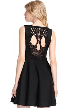 ROMWE | Skull Cut-out Black Dress, The Latest Street Fashion #RomwePartyDress