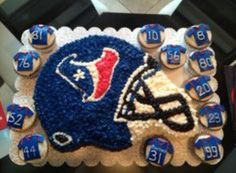 Texans Birthday cake with team numbers Houston Texans Party, Houston Texans Football, 9th Birthday Parties, Birthday Party Games, Birthday Cake, Food Themes, Party Themes, Party Ideas, Texans Cake