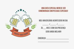 Convite de Aniversário Adulto: 17 Modelos Ideais! Humor, Day, Happy Hour, Camila, Bambam, Gabriel, Bathroom, Inspiration, Create Birthday Invitations