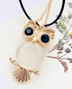 Chic Colored Rhinestone and Faux Opal Embellished Night Owl Pendant Sweater Chain Necklace For Women (GOLD) | Sammydress.com by Susan  happy