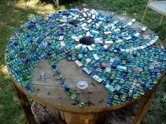 Glass stone mosaic for table top