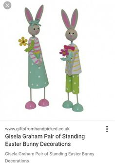 Pin by mollie fred on chocolate is so last year easter gifts gisela graham pair of standing easter bunny decorations negle Gallery