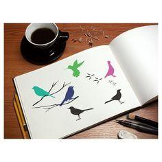 "Stencil1 Bird Multipack 8ct - Stencil 8.5"" x 11"", White"