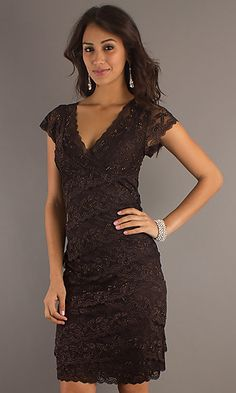 Knee Length Short Sleeve Layered Lace Dress at SimplyDresses.com  Mother of the Bride Dress???