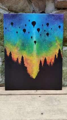 Ballon à air chaud forêt bois rainbow aurores par TheMindBlossom Woodland rainbow aurora hot air balloon by TheMindBlossom Painting Inspiration, Art Inspo, Hippie Painting, Oil Pastel Art, Arte Sketchbook, Painting & Drawing, Trippy Painting, Amazing Art, Watercolor Paintings