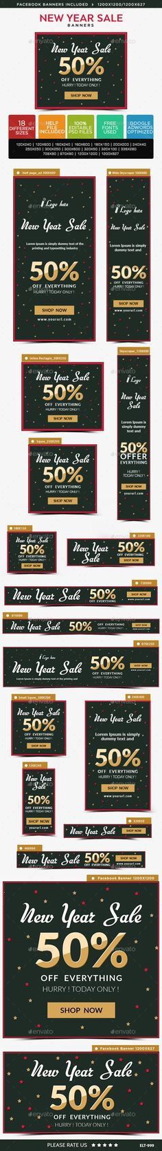 New Year Sale Banners by doto Promote your Products and services with this great looking Banner Set. Website Promotion, Web Design, Web Banners, New Years Sales, Sale Banner, Banner Template, Goods And Services, Christmas Sale, Banner Design