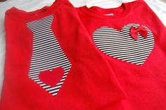 MATCHING Pair of Valentine's Day YOUTH-Size T-Shirts. $29.50, via Etsy.