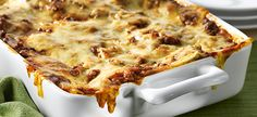 Cheesy Beef Lasagna - made with Campbell's Beef Broth & Condensed Tomato Basil Oregano Soup Casserole Recipes, Meat Recipes, Crockpot Recipes, Cooking Recipes, Hamburger Recipes, Chicken Penne Recipes, Pasta Recipes, Ground Beef Dishes, Cheese Lasagna
