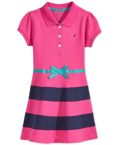 Nautica Little Girls' Striped-Skirt Polo Dress