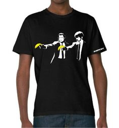 Banksy Pulp Fiction T-shirt    Simply Repin this T-shirt to be in with a chance of winning it! Pulp Fiction T Shirt, Entertainment Online, Young T, Style Icons, What To Wear, Professional Cleaners, Design Inspiration, Interesting Stuff, T Shirts
