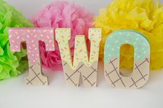 These adorable letters are the perfect addition to your little ones birthday ice cream party theme decorations, cake smash, prop, or photo shoot! Primary colors are pink, yellow and mint. If you prefer other colors please specify in the the Notes to Buyer section at checkout.