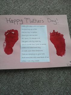 Footprint Mother's Day Craft-this made me tear up. Mother's Day Activities, Craft Activities For Kids, Preschool Crafts, Crafts For Kids, Craft Ideas, Mothers Day Cards Craft, Fathers Day Crafts, Holidays With Toddlers, Kids Daycare