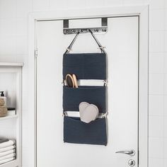 IKEA - NORDRANA, Hanging storage, blue, The hanging storage unit is handmade and therefore unique. Perfect for storing both big and small items since 1 pocket has 2 smaller compartments. Wash Basin Accessories, Bathroom Accessories, School Accessories, Hanging Storage, Storage Baskets, Rustic Closet, Recycling Facility, Smart Storage, Closet Designs