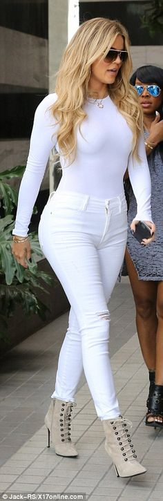 Her jeans had an on-trend ripped knee