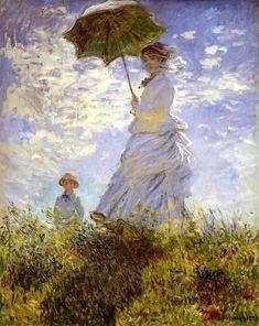 Monet, el parasol, oleo sobre tela. Impresionismo.