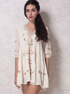 Shop White Plunge Neck Embroidery Tie Front 3/4 Sleeve Boho Dress from choies.com .Free shipping Worldwide.$32.9