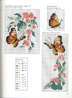 Butterfly Cross Stitch, Cross Stitch Borders, Cross Stitch Animals, Cross Stitch Charts, Cross Stitching, Cross Stitch Patterns, Beading Projects, Handicraft, Bookmarks