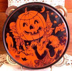 vintage halloween chein tambourine