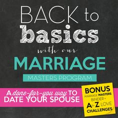It's Back-to-School season and that means routines, schedules and just plain busy-ness! It's time to get back to basics and de-stress by connecting with your one-and-only Partner!  Get solid, done-for-you date ideas and tips, delivered right to you every week when you join us for the Fall Marriage Masters Program!