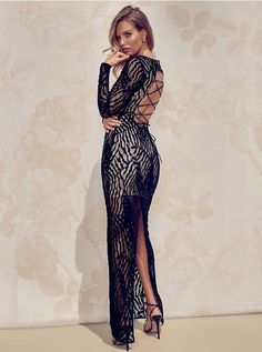Chic lace maxi dress features sheer long sleeves, a lace-up back and nude slip with a snap-button closure at the neck   MARCIANO.com