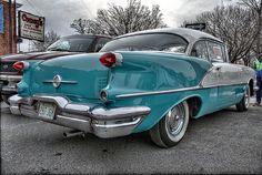 1956 Oldsmobile 88 H. White over Blue. General Motors, Austin Martin, Vintage Cars, Antique Cars, Jaguar, Automobile, Oldsmobile 88, Gm Car, American Classic Cars