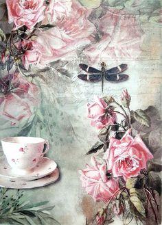 GBP - Rice Paper For Decoupage Decopatch Scrapbook Craft Sheet Vintage Tea & Roses & Garden Paper Napkins For Decoupage, Tissue Paper Crafts, Decoupage Vintage, Decoupage Paper, Vintage Crafts, Vintage Tea, Vintage Paper, Etiquette Vintage, Decoupage Printables