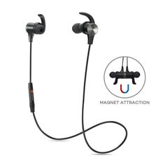 df68feefa0b Bluetooth Headphones, TaoTronics Bluetooth Stereo Magnetic Earphones, Secure  Fit for Sport, Gym with Built-in Mic TaoTronics